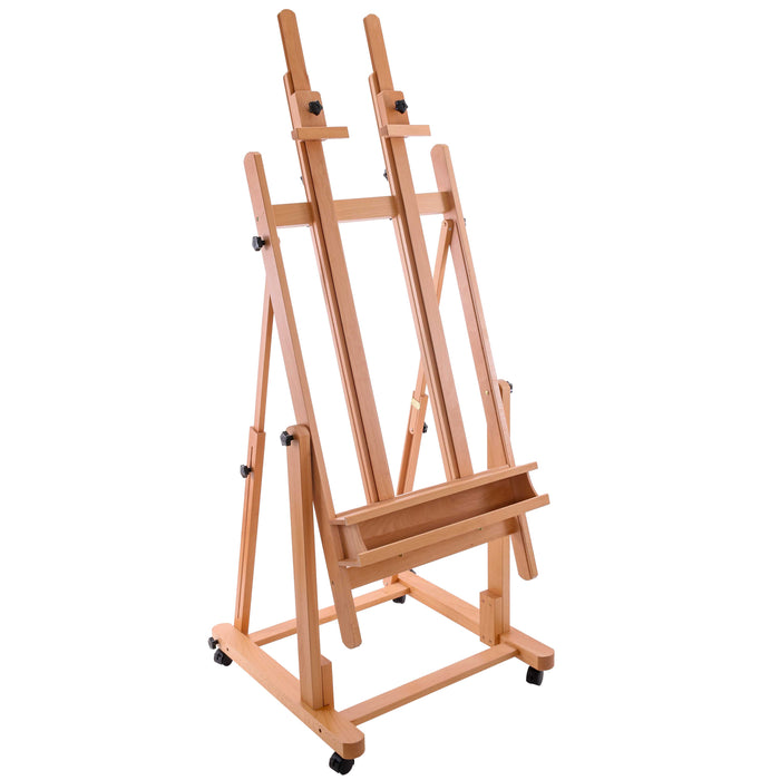 Extra Large Double Mast Wooden H-Frame Studio Floor Easel with Artist Storage Tray - Adjustable, Tilts Flat, Premium Beechwood Canvas Painting Holder Stand - Pro Locking Caster Wheels