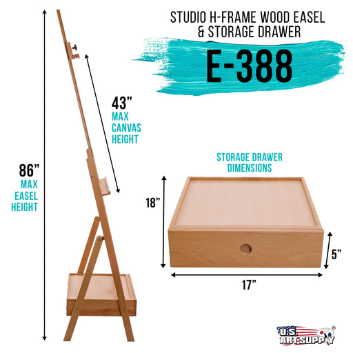 "Nantucket Extra Large Wooden H-Frame Studio Easel with Artist Storage Drawer and Shelf - Mast Adjustable to 86"" High, Sturdy Beechwood Canvas Holder Stand - Painting, Drawing Sketching"