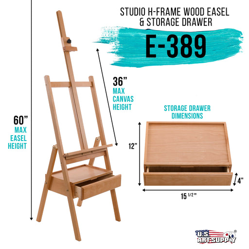 "Large Wooden H-Frame Studio Easel with Artist Storage Drawer and Shelf - Mast Adjustable to 75"" High, Sturdy Beechwood Canvas Holder Stand - Organized Painting, Drawing Sketching"