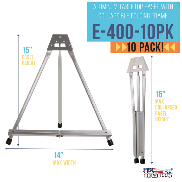 "15"" High Aluminum Tabletop Display Easel (Pack of 10) - Collapsible Folding Frame, Portable Artist Tripod Stand - Holds Canvas, Paintings, Books, Presentations, Photos, Pictures, Signs"