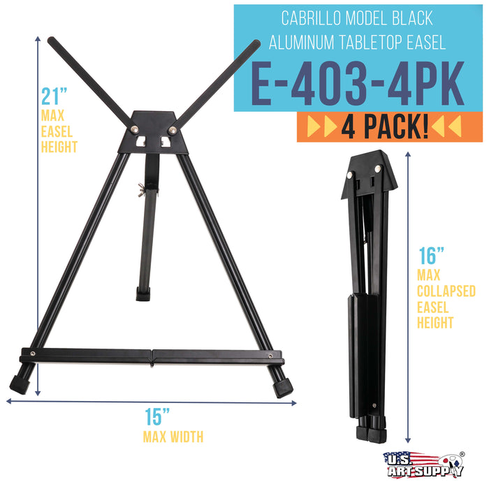 "15"" to 21"" High Adjustable Black Aluminum Tabletop Display Easel (Pack of 4) - Portable Artist Tripod Stand with Extension Arm Wings, Folding Frame - Holds Canvas Paintings Books Signs"