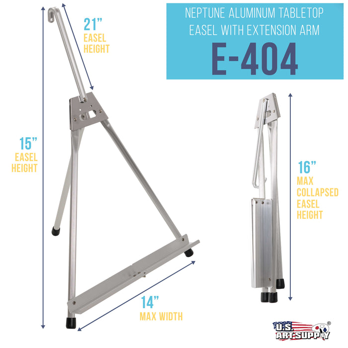 "15"" to 21"" High Adjustable Aluminum Tabletop Display Easel with Collapsible Folding Frame - Portable Artist Tripod Stand - Holds Canvas, Paintings, Books, Framed Photos, Signs, Posters"