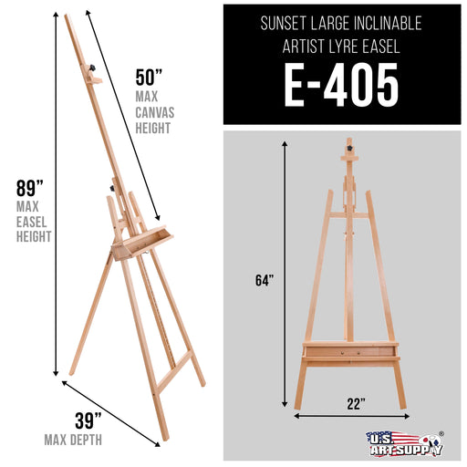 "Sunset 64"" to 89"" High Lyre Style Studio A-Frame Easel with Artist Storage Tray - Sturdy Beechwood, Inclinable Mast, Adjustable Height To 48"" Canvas, Wood Painting Display Holder Stand"