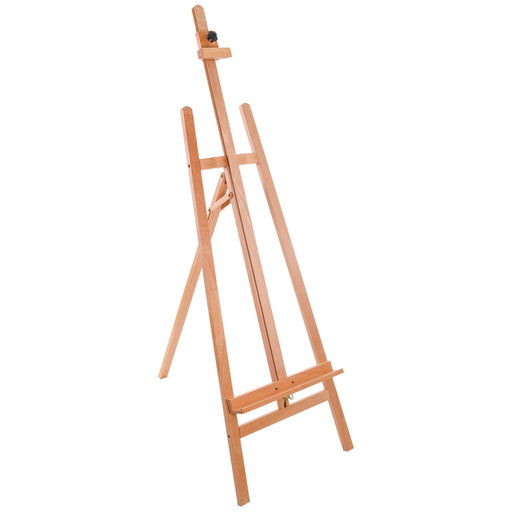 "La Jolla Classic 64"" to 89"" High Lyre Style Studio A-Frame Easel - Artists Floor Stand, Sturdy Beechwood, Adjustable Height To 48"" Canvas - Wood Artwork, Painting, Sign Display Holder"