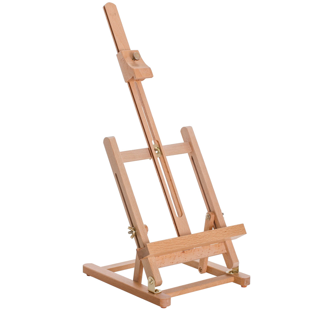 "Small Tabletop Wooden H-Frame Studio Easel - Artists Adjustable Beechwood Painting and Display Easel, Holds Up To 16"" Canvas - Portable Sturdy Table Desktop Holder Stand - Paint Sketch"