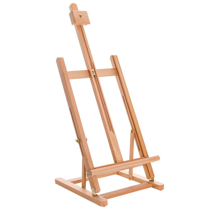 "38"" High Tabletop Wooden H-Frame Studio Easel - Artists Adjustable Beechwood Painting and Display Easel, Holds Up To 22"" Canvas - Portable Sturdy Table Desktop Holder Sketch Pad Stand"