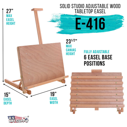 "Cancun Solid Wooden Adjustable Tabletop Artist Studio Easel - Sturdy Wood Beechwood Desktop Painting, Drawing Table, Sketching Board and Display Easel, Holds Up To 23"" Canvas"