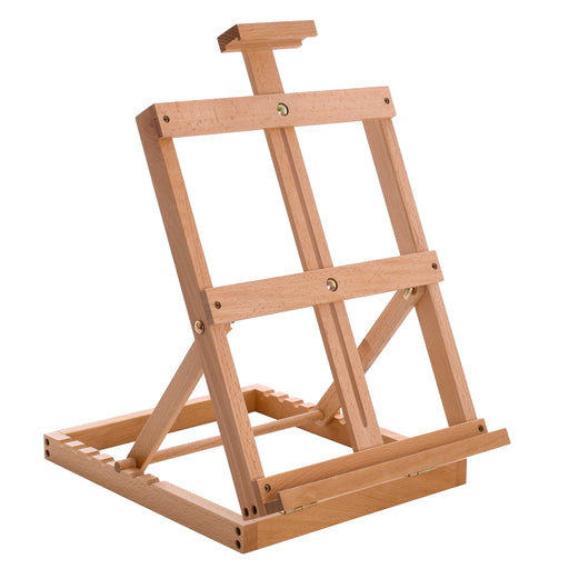 "Venice Heavy Duty Tabletop Wooden H-Frame Studio Easel - Artists Adjustable Beechwood Painting and Display Easel, Holds Up To 23"" Canvas, Portable Sturdy Table Desktop Holder Stand"