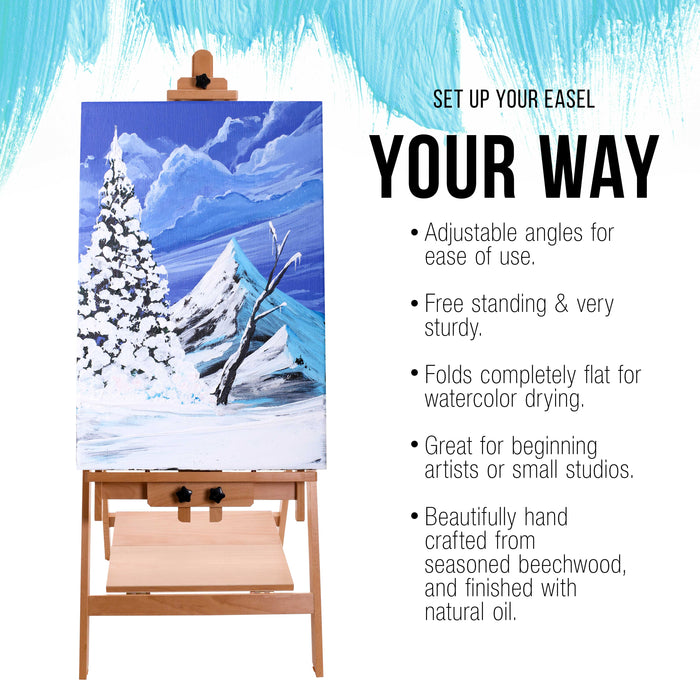 "Large Adjustable H-Frame Multi-Purpose Studio Artist Wooden Floor Easel - Tilts Flat, Mast Adjusts to 88"" High, Holds 59"" Canvas - Sturdy Beechwood Painting Holder Display Stand, Shelf"