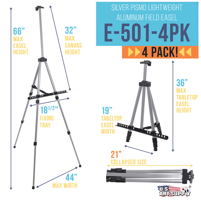 "66"" Sturdy Silver Aluminum Tripod Artist Field and Display Easel Stand (Pack of 4) - Adjustable Height 20"" to 5.5 Feet, Holds 32"" Canvas - Floor and Tabletop Displaying, Portable Bag"