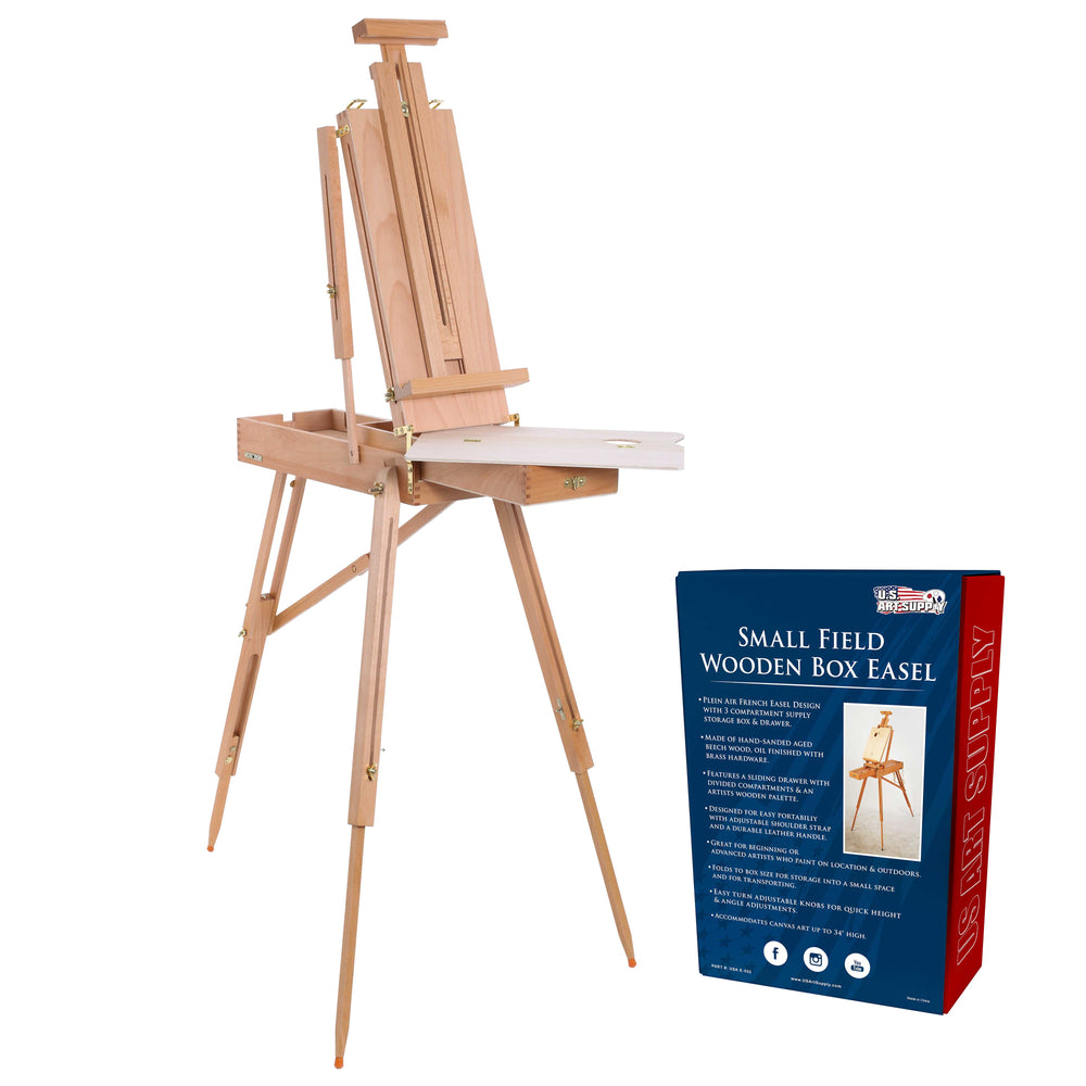 Coronado Small Box Wooden French Style Field and Studio Sketchbox Easel with Drawer, Beechwood, Artist Palette - Adjustable Wood Tripod Easel Stand, Painting, Sketching, Canvas Display