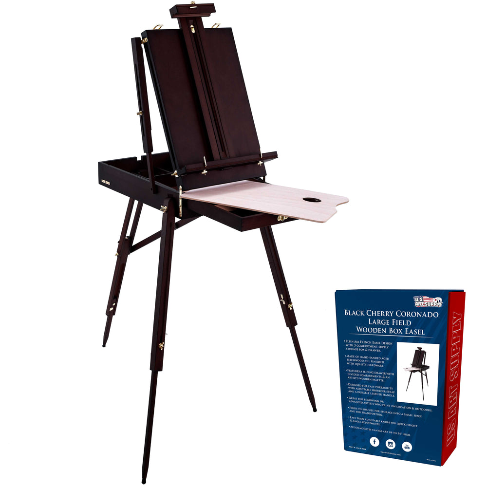 Coronado Black Cherry Easel, Large Adjustable Wooden French Style Field and Studio Sketchbox Tripod Easel with Drawer, Artist Wood Palette, Premium Beechwood, Painting, Sketching Stand