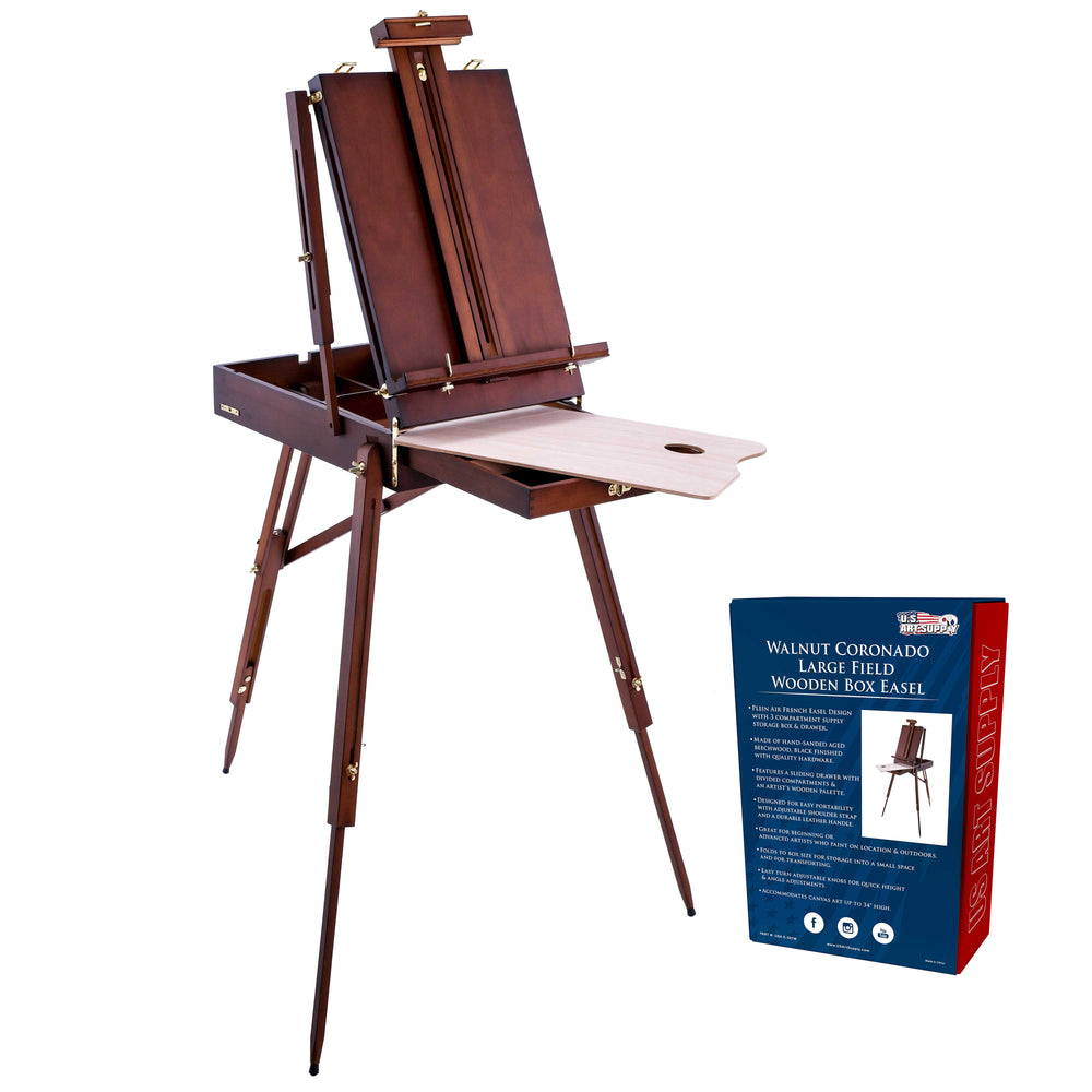 Coronado Walnut Easel, Large Adjustable Wooden French Style Field and Studio Sketchbox Tripod Easel with Drawer, Artist Wood Palette, Premium Beechwood, Painting, Sketching Stand