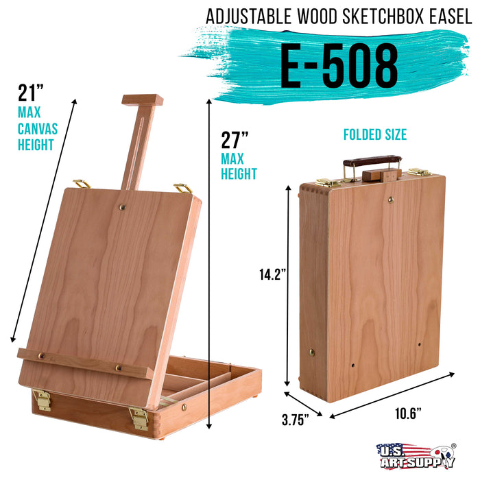 Antigua Adjustable Wood Table Sketchbox Easel, Premium Beechwood - Portable Wooden Artist Desktop Storage Case - Store Art Paint, Markers, Sketch Pad - Box for Drawing, Painting