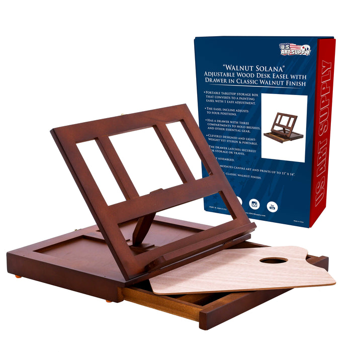 Walnut Solana Adjustable Wood Desk Table Easel with Storage Drawer, Paint Palette, Premium Beechwood - Portable Wooden Artist Desktop, Board for Canvas, Painting, Drawing, Book Stand