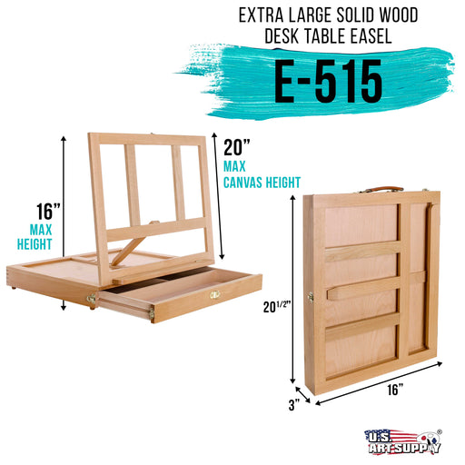 Super Solana Extra Large Adjustable Wood Desk Table Easel with Wide Storage Drawer, Premium Beechwood - Portable Wooden Artist Desktop, Board for Canvas, Painting, Drawing Sketching