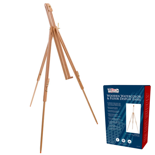 "Harbor 72"" High Wood Artist Watercolor Field and Display Easel Stand - Beechwood Adjustable Floor & Tabletop Tripod, Holds Painting Canvas Up To 42"" Vertical, 28"" Horizontal, Portable"