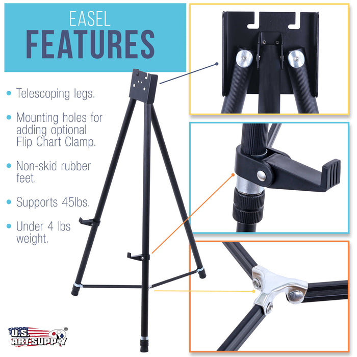 "70"" High Showroom XL Aluminum Display Easel (Pack of 6), Holds 45 lbs - Heavy Duty Extra Large Black Presentation Stand, Adjustable Portable Floor Tabletop Tripod - Show Signs, Posters"