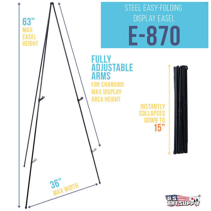 "63"" High Steel Easy Folding Display Easel - Quick Set-Up, Instantly Collapses, Adjustable Height Display Holders - Portable Tripod Stand, Presentations, Signs, Posters, Holds 5 lbs"