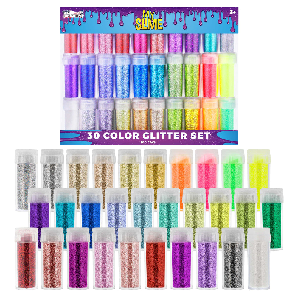 My Slime Colors 30 Color Deluxe Glitter Shake Jars Set Kit - Extra Fine Glitter in Large 10 Gram Bottles - Arts, Crafts, Scrapbooking, Body, Face, Slime Making Glue, Birthday Party