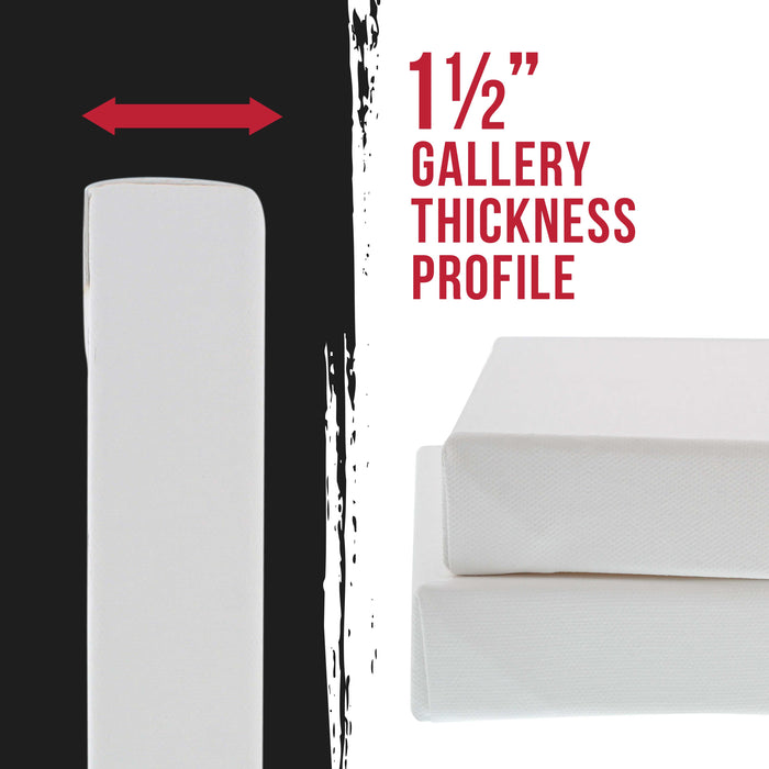 "4"" x 12"" Gallery Depth 1-1/2"" Profile Stretched Canvas 5-Pack - Acrylic Gesso Triple Primed 12-ounce 100% Cotton Acid-Free Back Stapled"