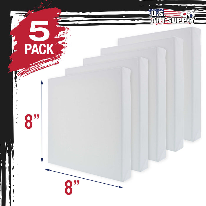 "8"" x 8"" Gallery Depth 1-1/2"" Profile Stretched Canvas 5-Pack - Acrylic Gesso Triple Primed 12-ounce 100% Cotton Acid-Free Back Stapled"