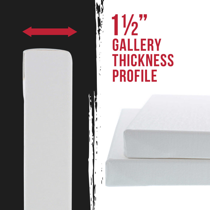 "30"" x 40"" Gallery Depth 1-1/2"" Profile Stretched Canvas 2-Pack - Acrylic Gesso Triple Primed 12-ounce 100% Cotton Acid-Free Back Stapled"
