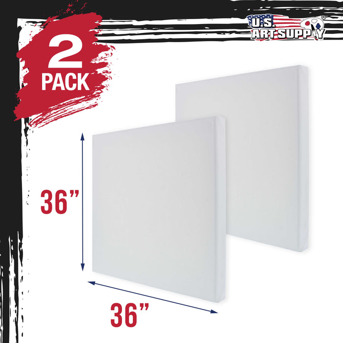 "36"" x 36"" Gallery Depth 1-1/2"" Profile Stretched Canvas 2-Pack - Acrylic Gesso Triple Primed 12-ounce 100% Cotton Acid-Free Back Stapled"