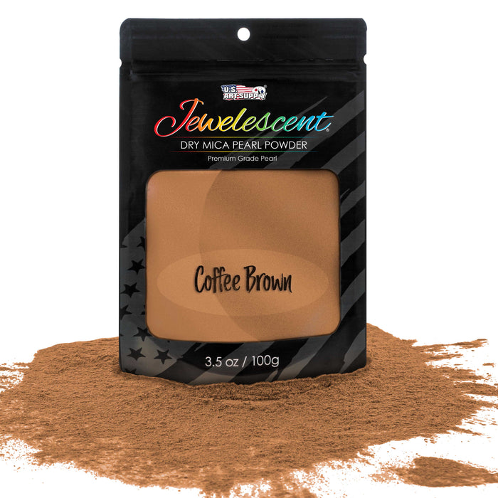 Jewelescent Coffee Brown Mica Pearl Powder Pigment, 3.5 oz (100g) Sealed Pouch - Cosmetic Grade, Metallic Color Dye