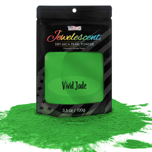 Jewelescent Vivid Jade Mica Pearl Powder Pigment, 3.5 oz (100g) Sealed Pouch - Cosmetic Grade, Metallic Color Dye