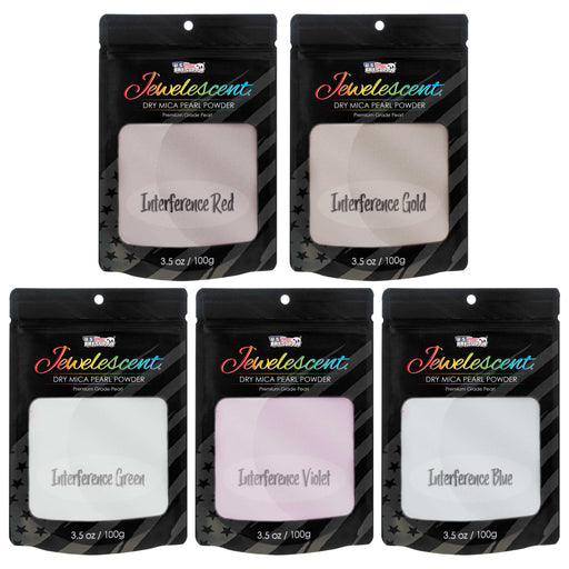 Jewelescent Interference 5 Color Mica Pearl Powder Pigment Set Kit, 3.5 oz (100g) Sealed Pouches - Cosmetic Grade, Metallic Dye