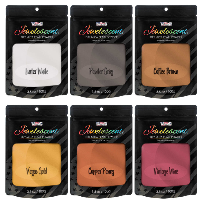 Jewelescent Metal Tones 6 Color Mica Pearl Powder Pigment Set Kit, 3.5 oz (100g) Sealed Pouches - Cosmetic Grade, Metallic Dye