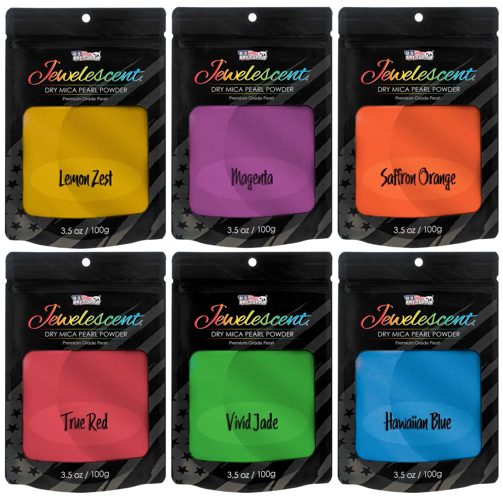 Jewelescent Ultra Bright 6 Color Mica Pearl Powder Pigment Set Kit, 3.5 oz (100g) Sealed Pouches - Cosmetic Grade, Non-Toxic Metallic Dye