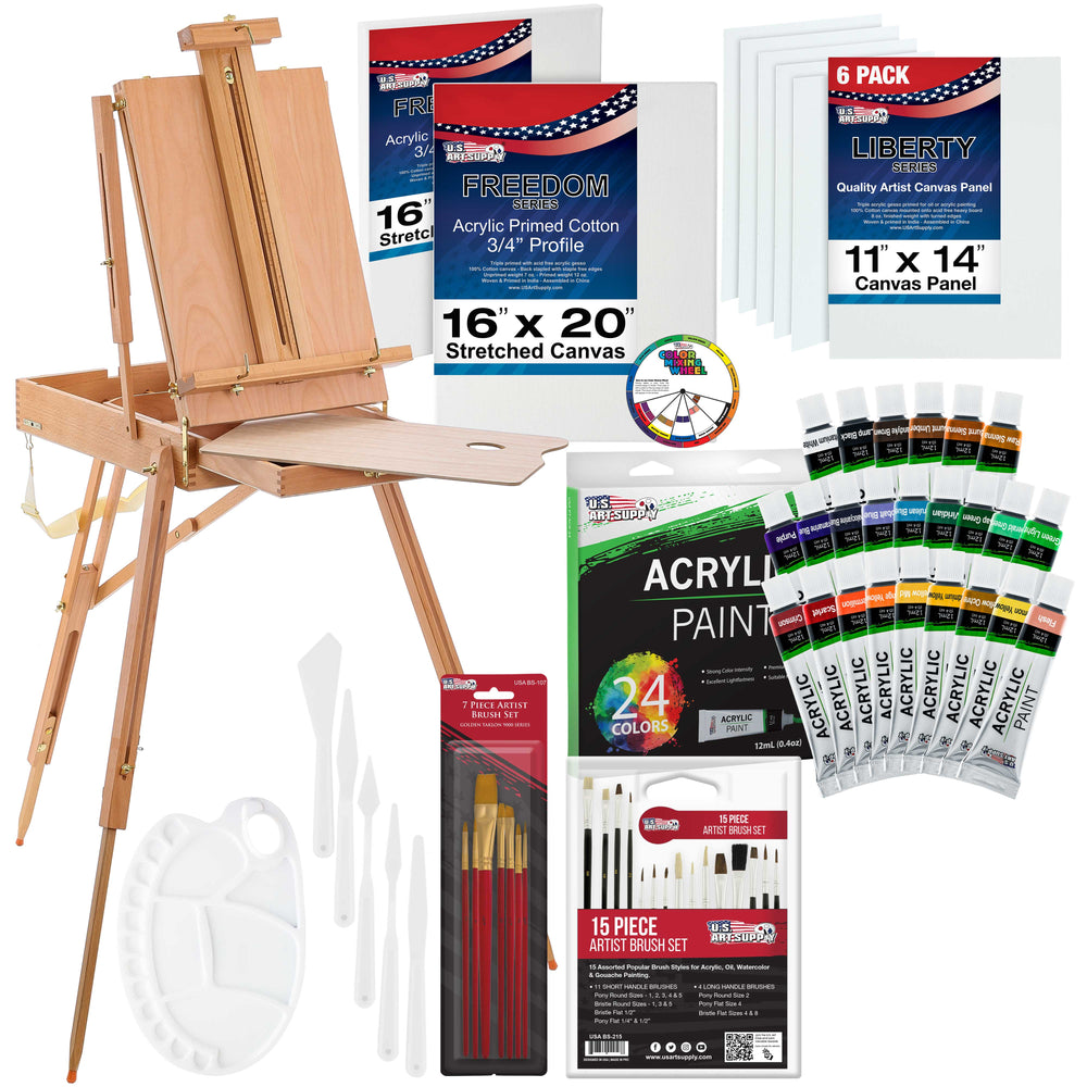 62 Piece Custom Artist Acrylic Painting Kit with Coronado French Easel, Paint, Canvas & Accessories