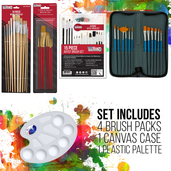 133 Piece Deluxe Artist Painting Set with Aluminum Floor Easel, Wood Drawer Table Easel, Paint, Canvas & Accessories