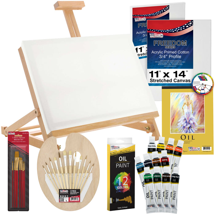 "35-Piece Oil Painting Table Easel Set with, Oil Paint Colors, 11""x14"" Stretched Canvases, Oil Painting Paper Pad, 16 Artist Brushes, Wooden Palette & Now Includes a Color Mixing Wheel"