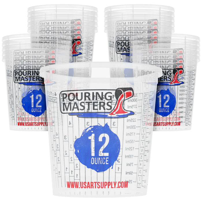 Pouring Masters 12 Ounce (350ml) Graduated Plastic Mixing Cups (Box of 20) - Use for Paint, Resin, Epoxy, Art, Kitchen - Measurements OZ., ML., Ratios