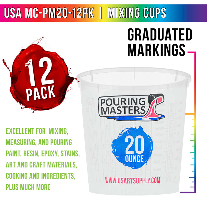 Pouring Masters 20 Ounce (600ml) Graduated Plastic Mixing Cups (Box of 12) - Use for Paint, Resin, Epoxy, Art, Kitchen - Measurements OZ., ML., Ratios