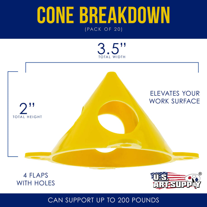 Yellow Cone Canvas and Cabinet Door Risers - Acrylic and Epoxy Pouring Paint Canvas Support Stands (Pack of 20)