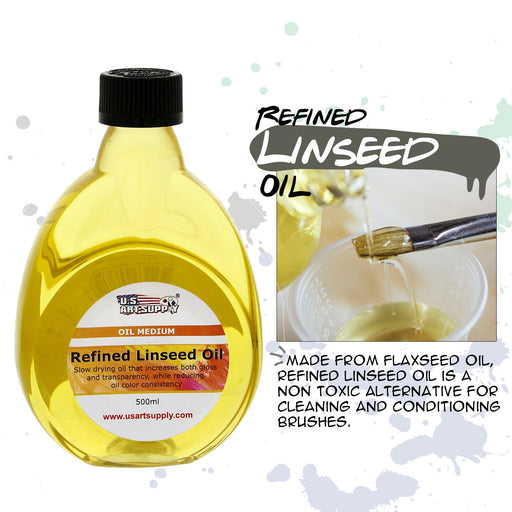 - Refined Linseed Oil -, 500ml / 16.9 Fluid Ounce Container