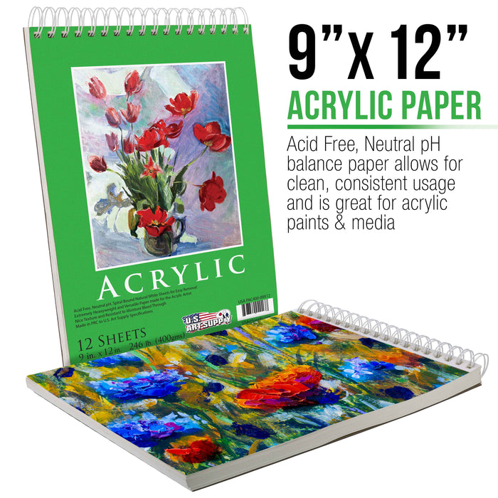 "9"" x 12"" Premium Extra Heavy-Weight Acrylic Painting Paper Pad, 246 Pound (400gsm), Spiral Bound, Pad of 12-Sheets (Pack of 2 Pads)"