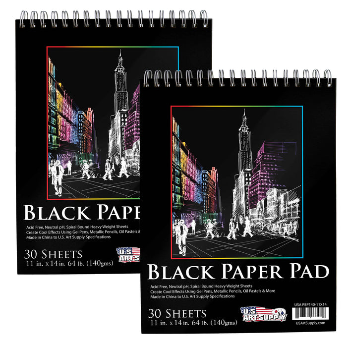 11 in. x 14 in. Premium Black Heavyweight Paper Spiral Bound Sketch Pad, 140gsm, 64 Pound, 30 Sheets (Pack of 2 Pads)