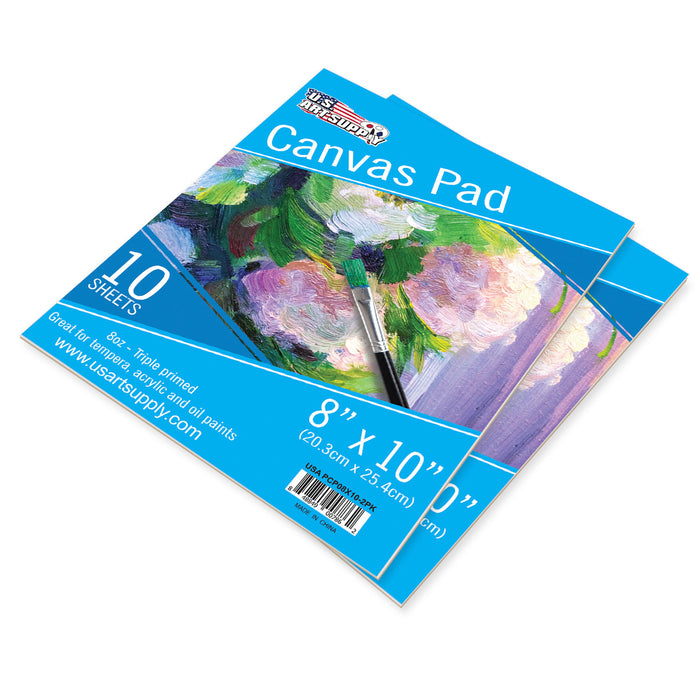 "8"" x 10"" 10-Sheet 8-Ounce Triple Primed Acid-Free Canvas Paper Pad (Pack of 2 Pads)"