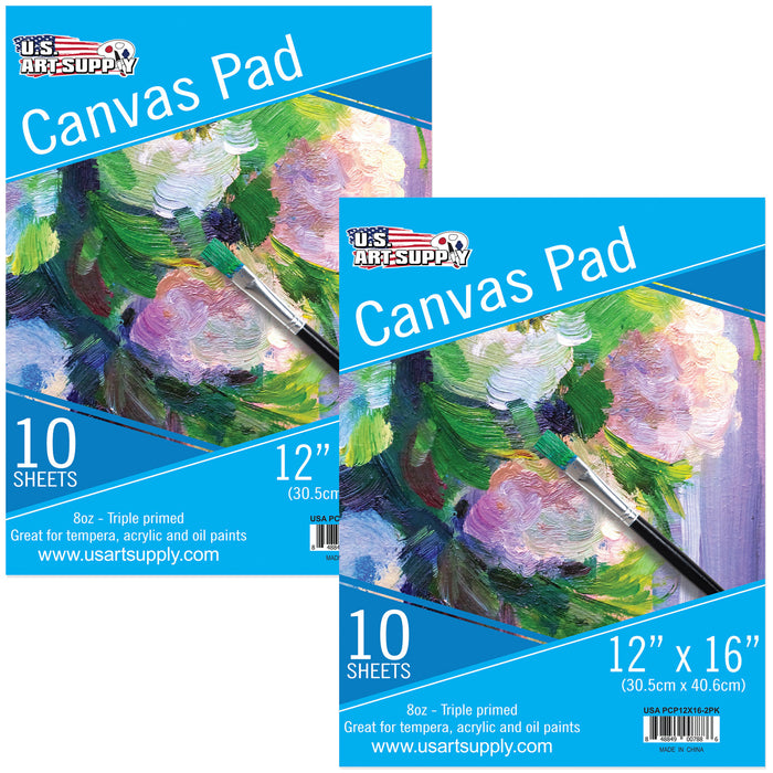 "12"" x 16"" 10-Sheet 8-Ounce Triple Primed Acid-Free Canvas Paper Pad (Pack of 2 Pads)"