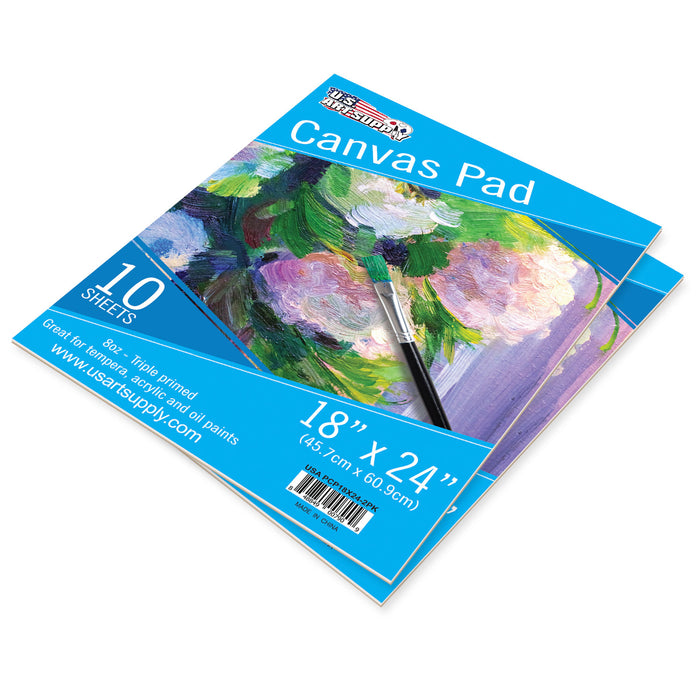 "18"" x 24"" 10-Sheet 8-Ounce Triple Primed Acid-Free Canvas Paper Pad (Pack of 2 Pads)"