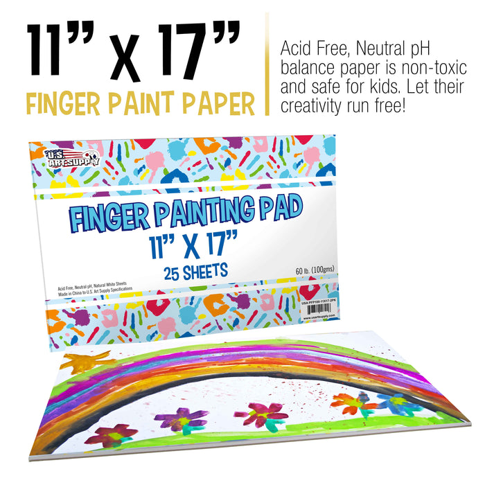 "Large 11"" x 17"" Finger Painting Paper Pad - 25 Sheets 60lb (100gsm) Acid Free (Pack of 2 Pads)"