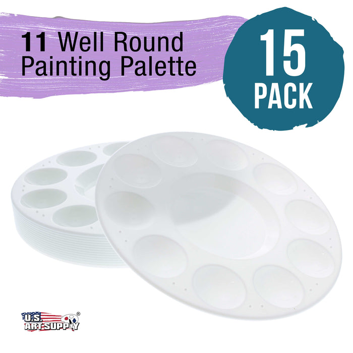 11-Well Round Artist Painting Palette (Pack of 15)