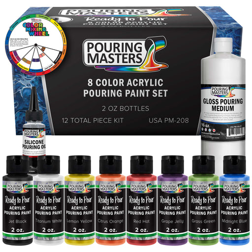 8 Color Ready to Pour Acrylic Pouring Paint Set - Premium Pre-Mixed High Flow 2-Ounce Bottles - for Canvas, Wood, Paper, Crafts, Tile, Rocks and More