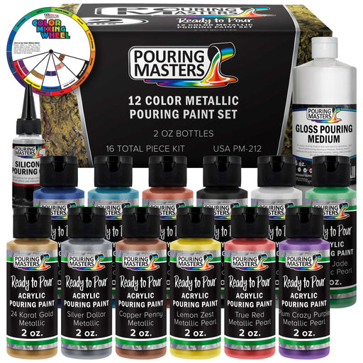 12 Color Metallic Ready to Pour Acrylic Pouring Paint Set - Premium Pre-Mixed High Flow 2-Ounce Bottles - for Canvas, Wood, Paper, Crafts, Tile, Rocks and More