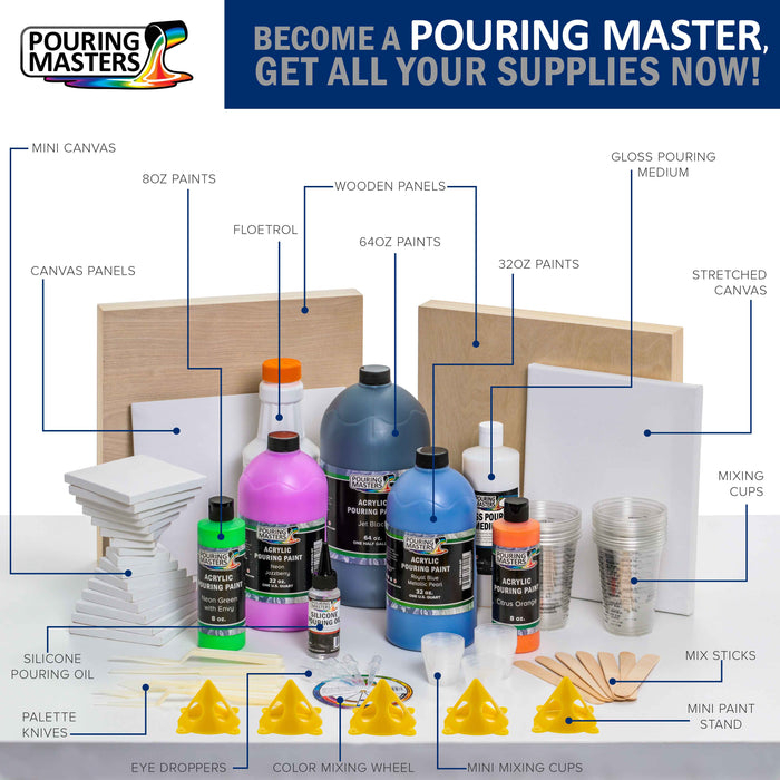 36-Color Ready to Pour Acrylic Pouring Paint Set with Silicone Oil & Gloss Medium - Premium Pre-Mixed High Flow 2-Ounce & 8-Ounce Bottles